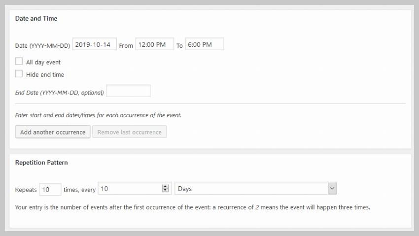 Recurring Event Details