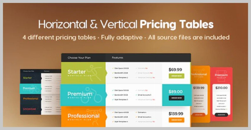 Horizontal  Vertical Pricing Tables