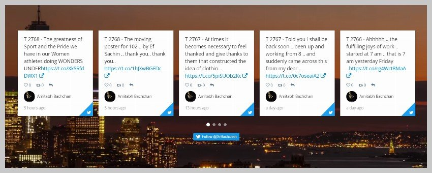 Twitter feed displayed in grid style