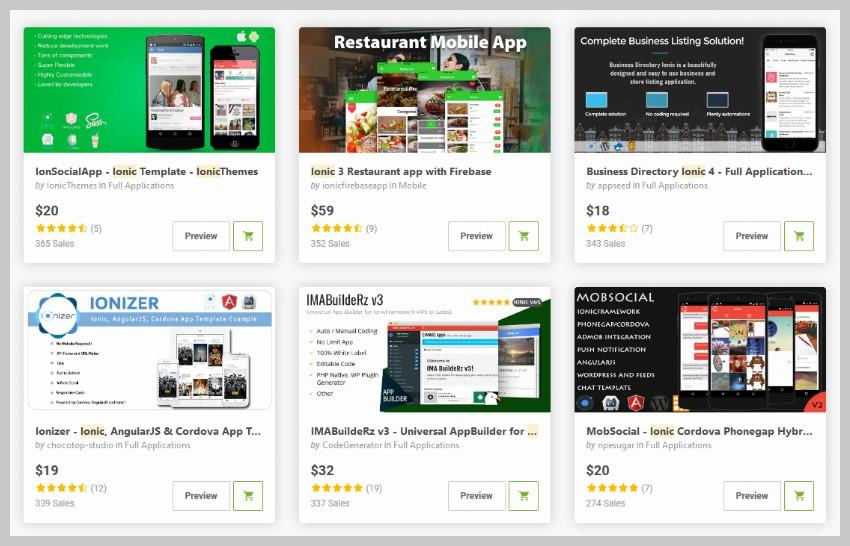 Ionic Apps on Codecanyon