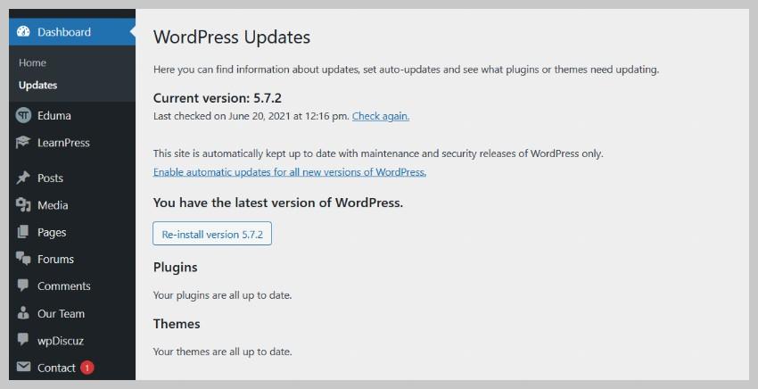 WordPress version on Updates Page