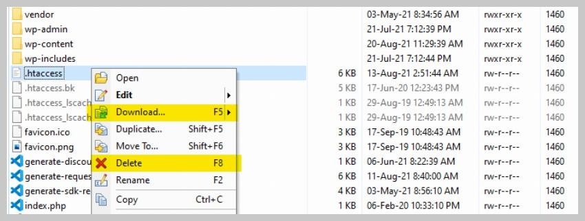 Download and Delete .htaccess File