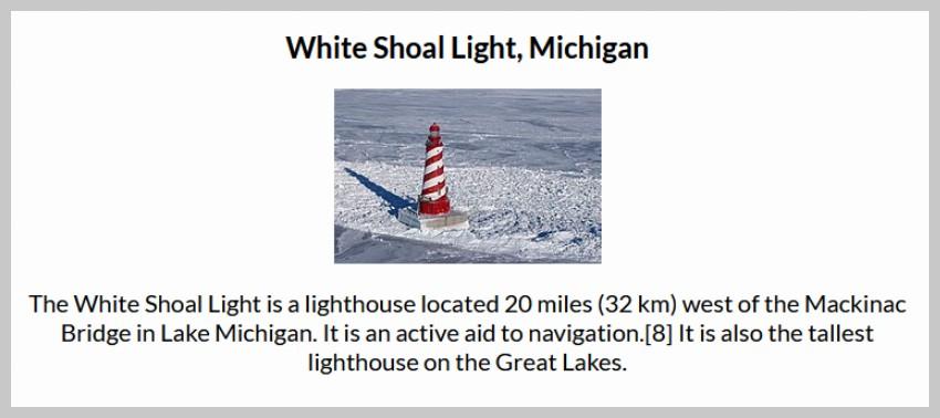 WikiPedia White Shoal Light, Michigan