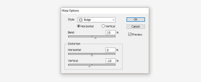Warp Options window