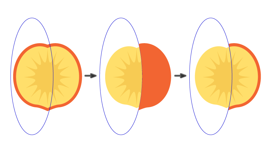 creating the slice of the peach
