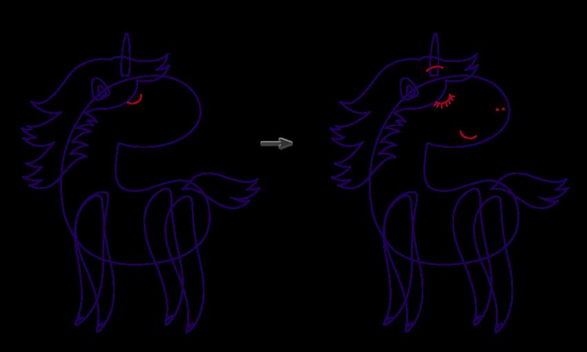 creating the eyelashes mouth and nosdrils