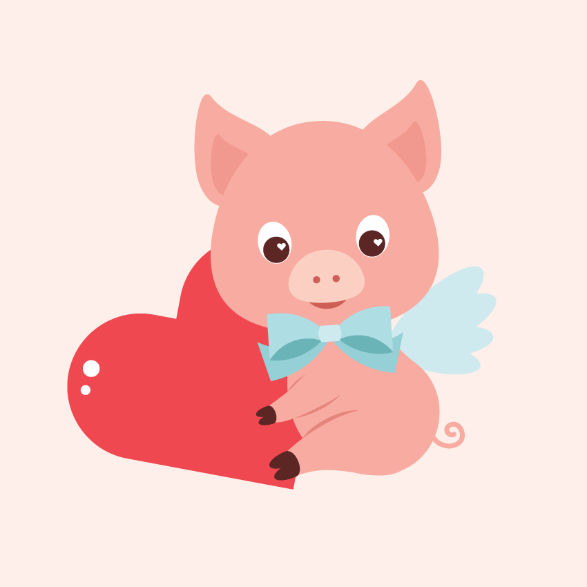 placing the pig on the background