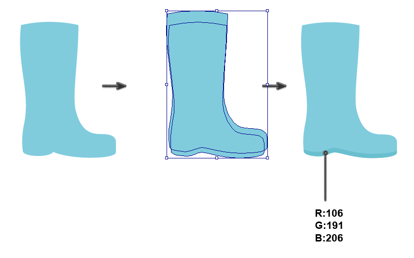 creating the sole of rain boot
