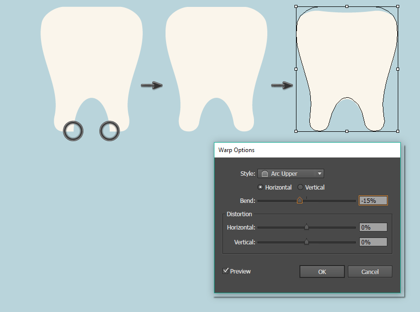 creating the tooth shape 2