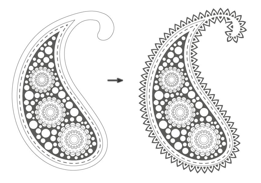 applying the new brush to the paisley