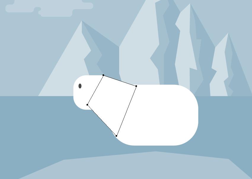 creating the neck of the polar bear