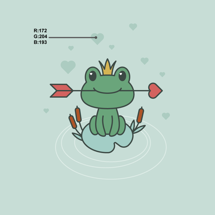 adding the hearts aroung frog