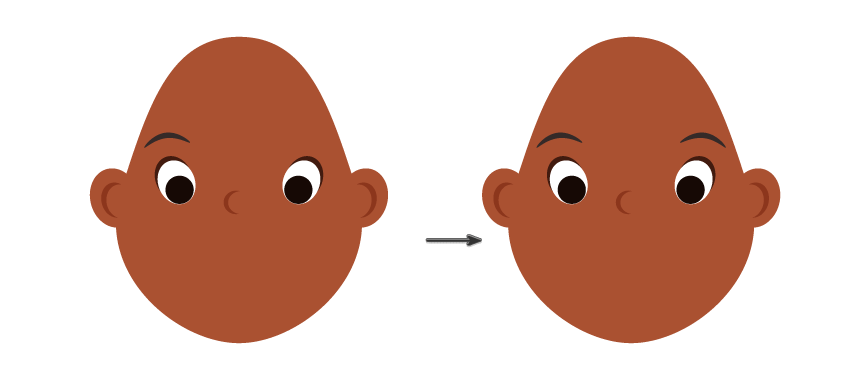 placing the left eyebrow and creating the right one