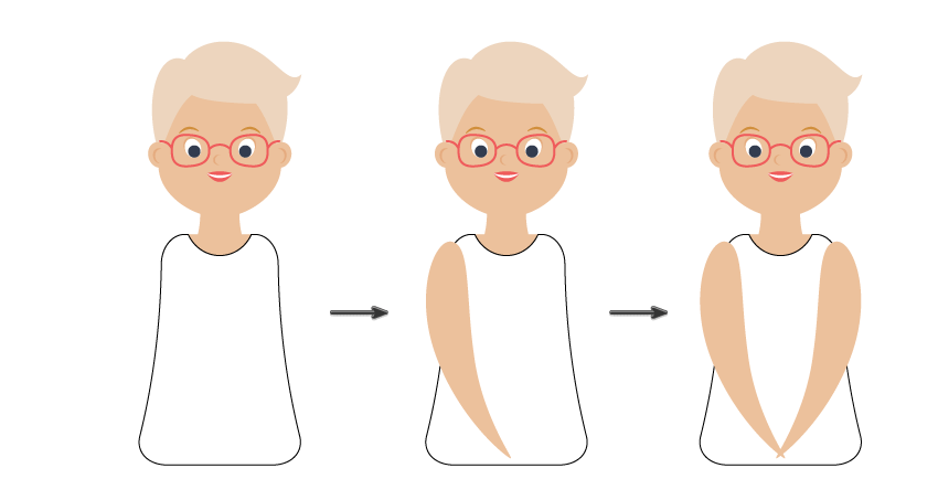 how to create the blouse and arms