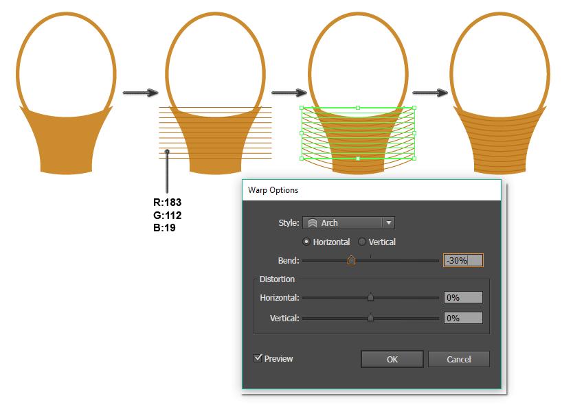 applying stripes to the basket pattern