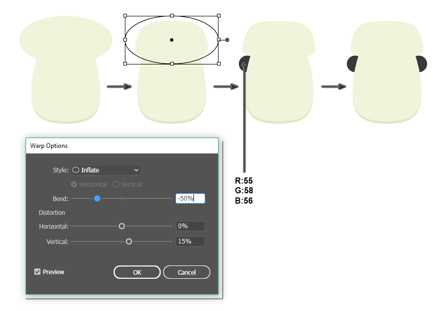 how to create the upper part of the head and eyes