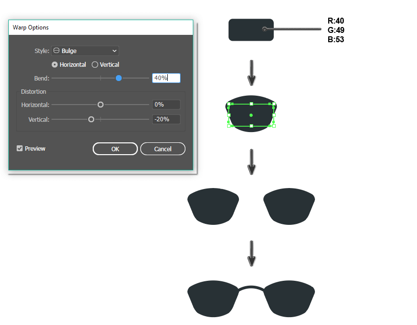 how to create the glasses