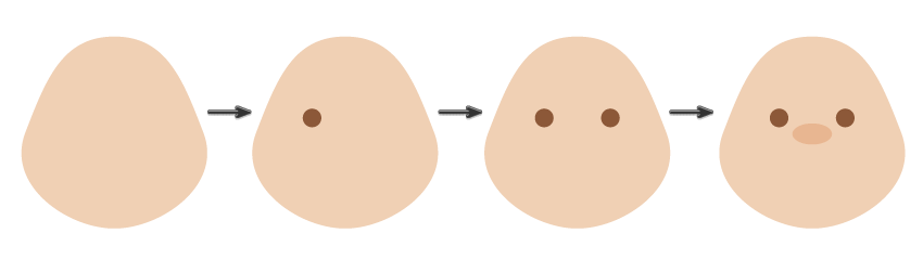how to create the eyes and nose