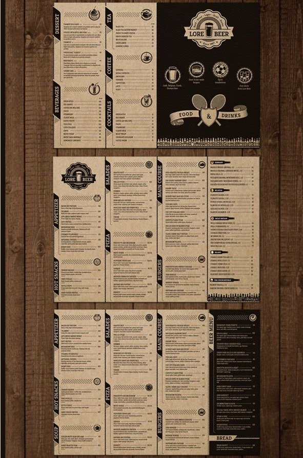 Lore Beer Pub Menu Design