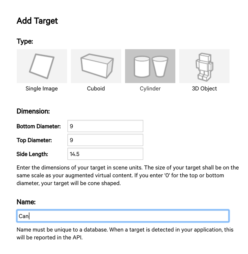 Adding a Cylinder Target