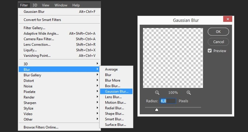 Adding gaussian blur effect