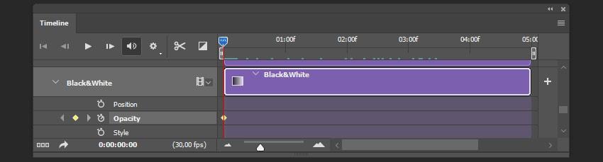 Creating keyframes for blackwhite filter