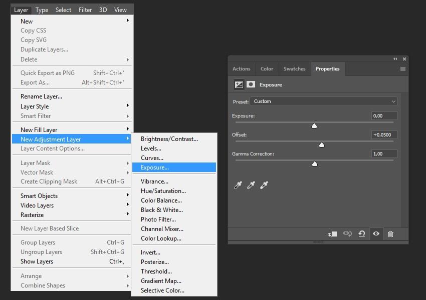 Creating exposure adjustments layer