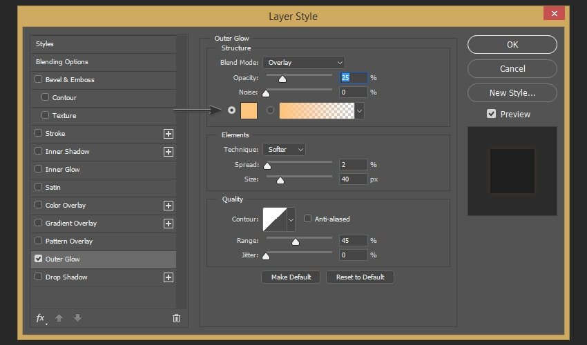 Adding outer glow effect to the layer