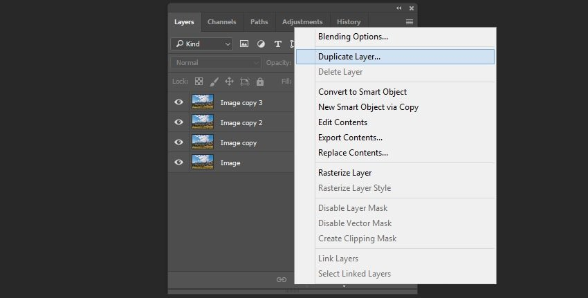 Creating the duplicates of the layer