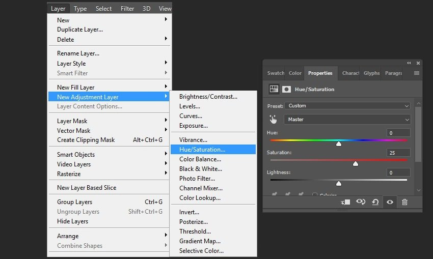 Creating a huesaturation adjustments layer