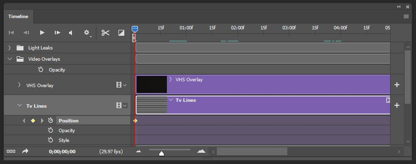 creating the first keyframe for the tv lines texture