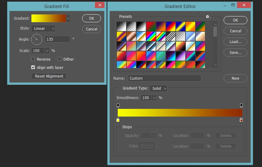 setting up colors for the first gradient fill layer