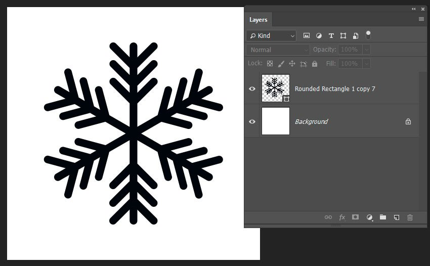 finishing the snowflake shape