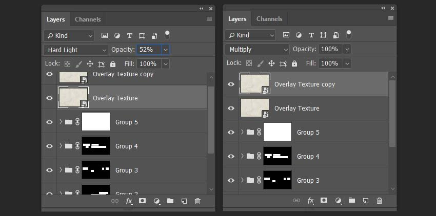 changing the blending modes and opacity of the layers