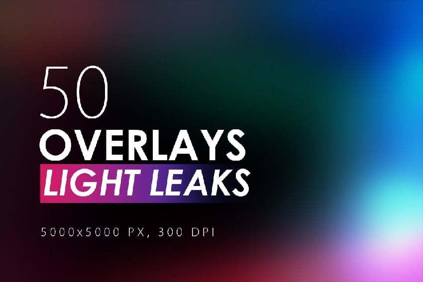 50 light leaks overlays