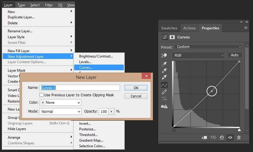 creating curves adjusment layer