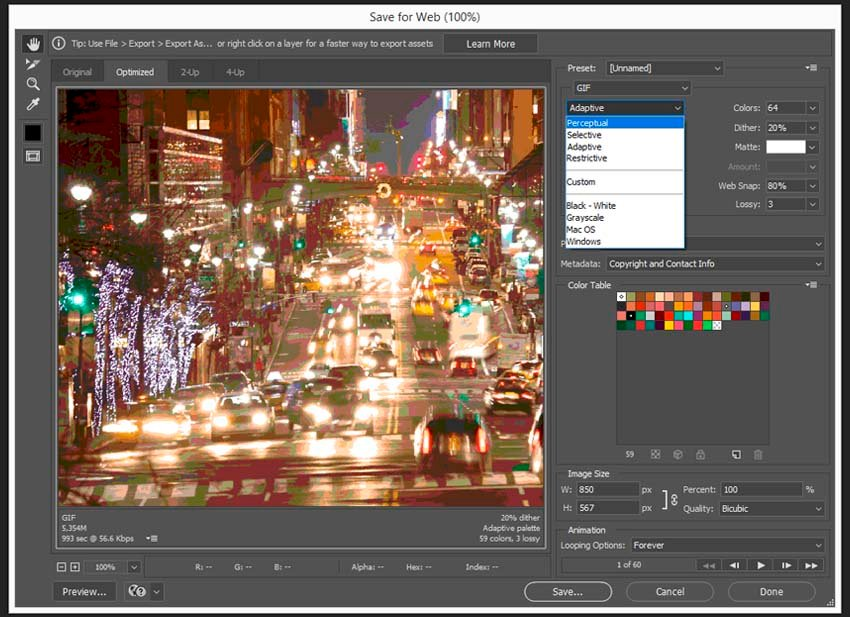 How to Compress GIF Tutorial choosing the color reduction algorithm