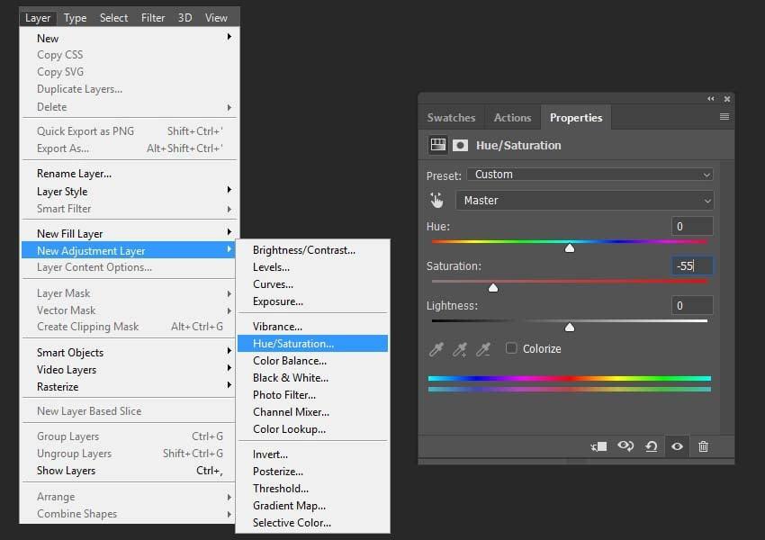 creating hue saturation adjustment layer