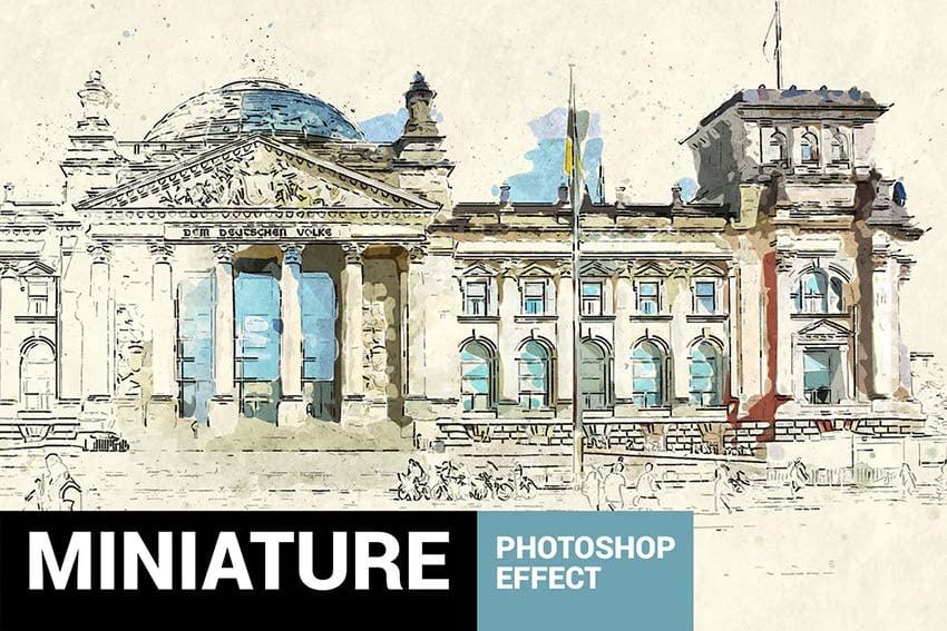 Miniaturum - Watercolor Sketch Photoshop Action