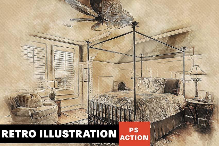 Retro Illustration Photoshop Action