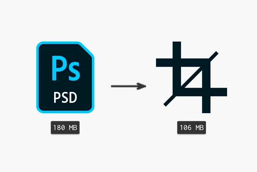 comparing the original file size to cropped psd file size