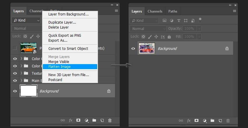 flattening the layers to decrease the files size in Photoshop