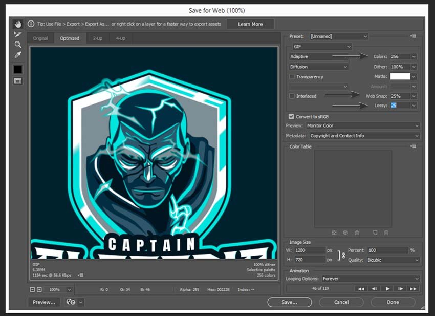 setting up the gif file settings in Photoshop