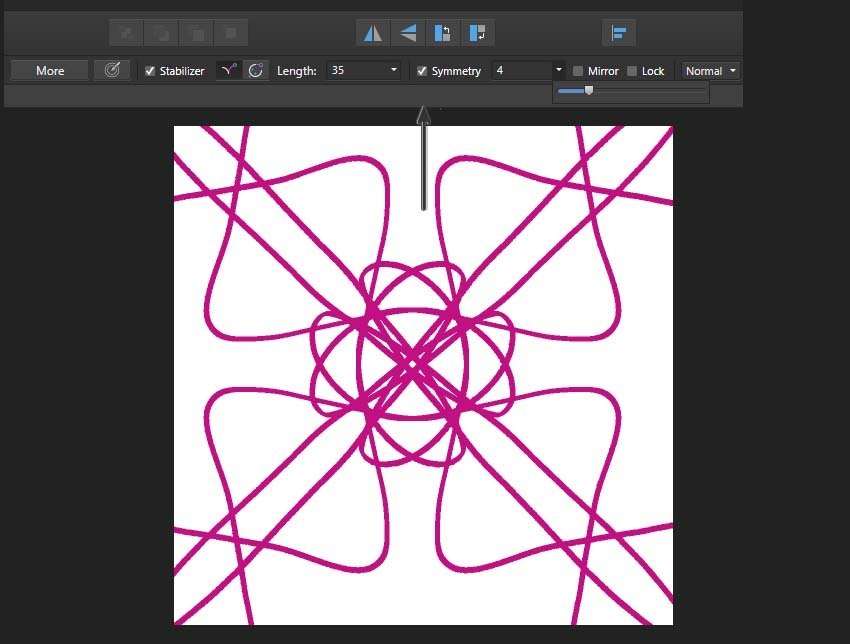 using the symmetry function in Affinity Designer