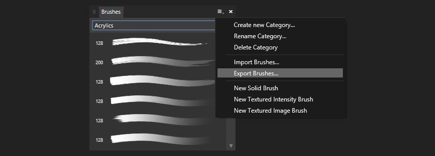 exporting the brushes from affinity