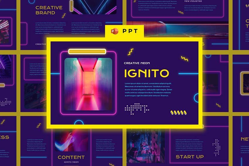 IGNITO - Neon Colour Powerpoint Template