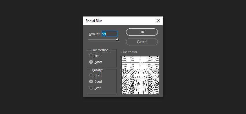 adding the radial blur effect