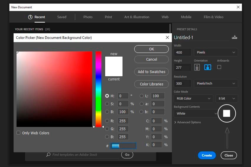 changing backgound color in document settings with color picker