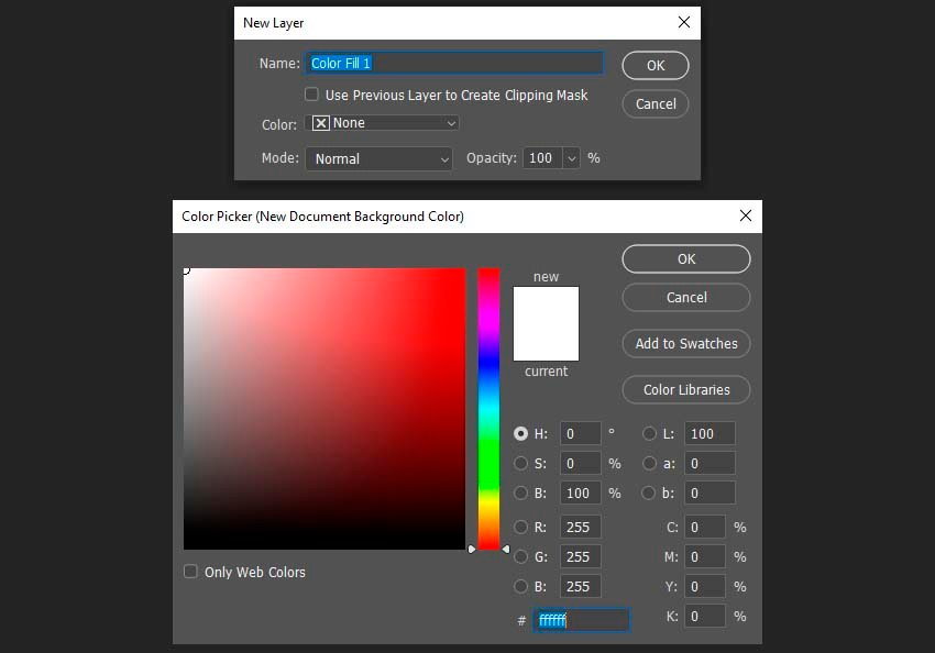 changing the background color using a solid color fill layer