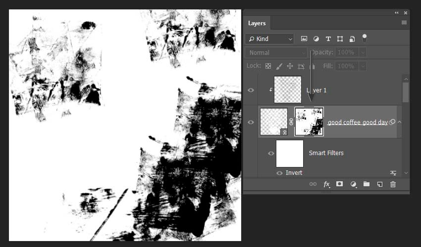 painting with the brushes on the maks of the layer